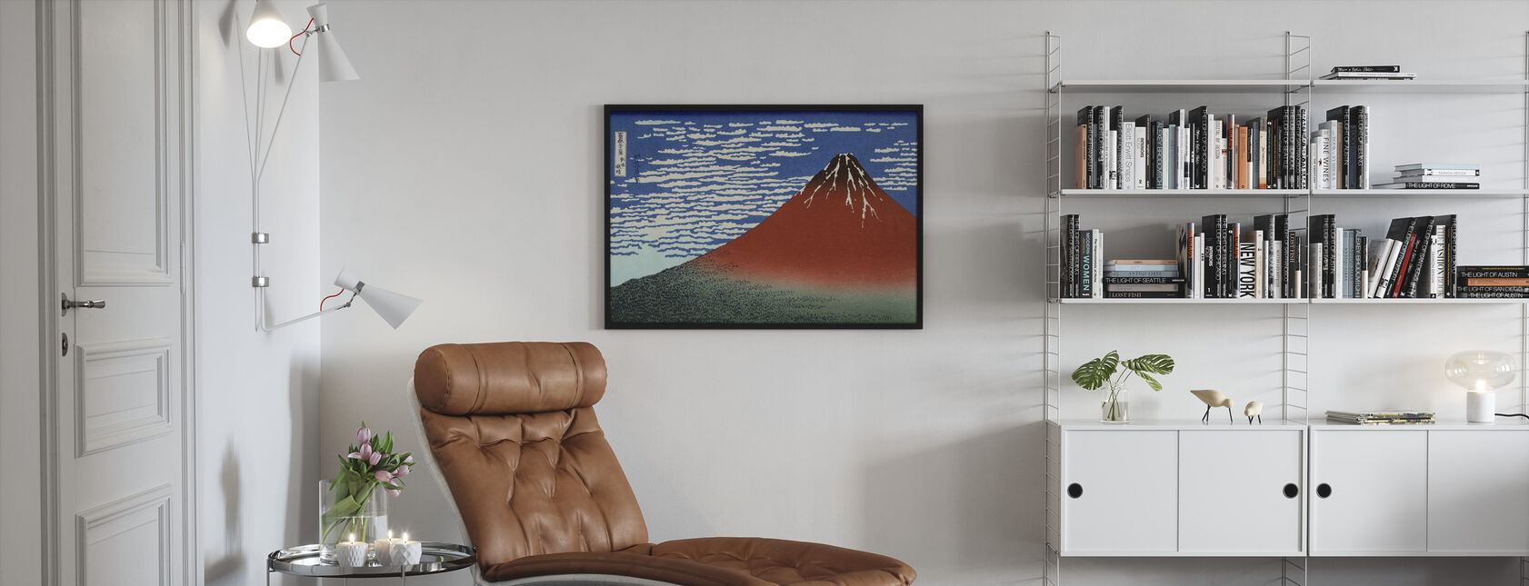 Red Fuji, Katsushika Hokusai - Kehystetty kuva - Olohuone