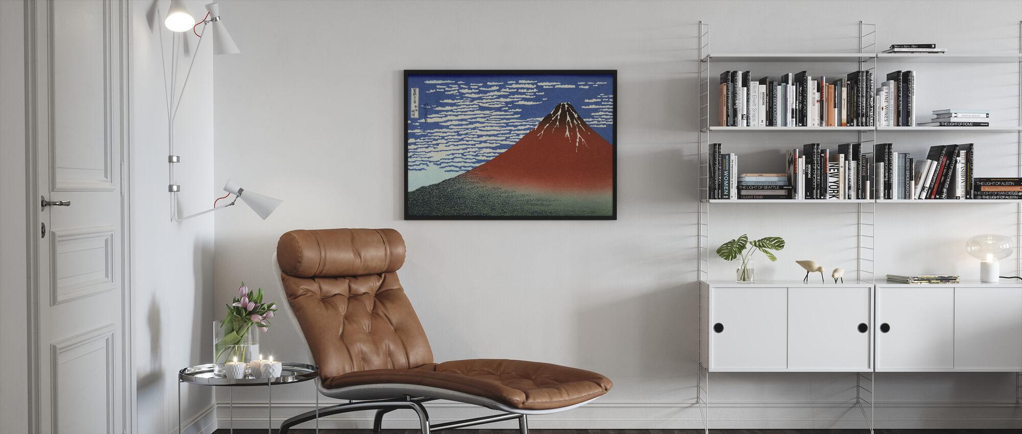 Red Fuji, Katsushika Hokusai - Gerahmtes bild - Wohnzimmer