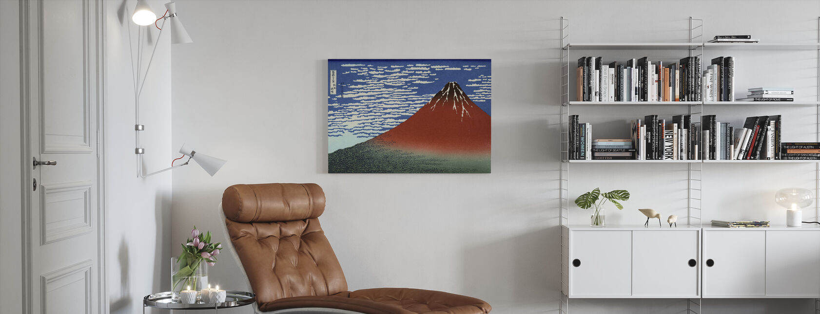 Red Fuji, Katsushika Hokusai - Canvas print - Living Room