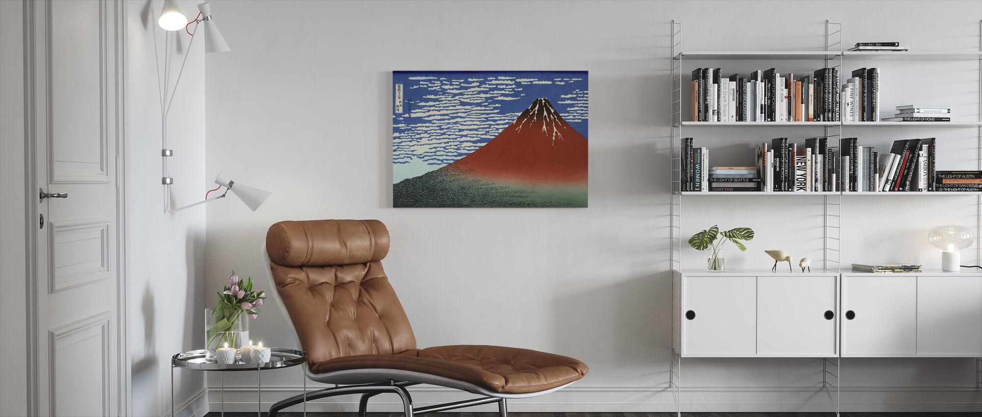 Red Fuji, Katsushika Hokusai - Canvastaulu - Olohuone