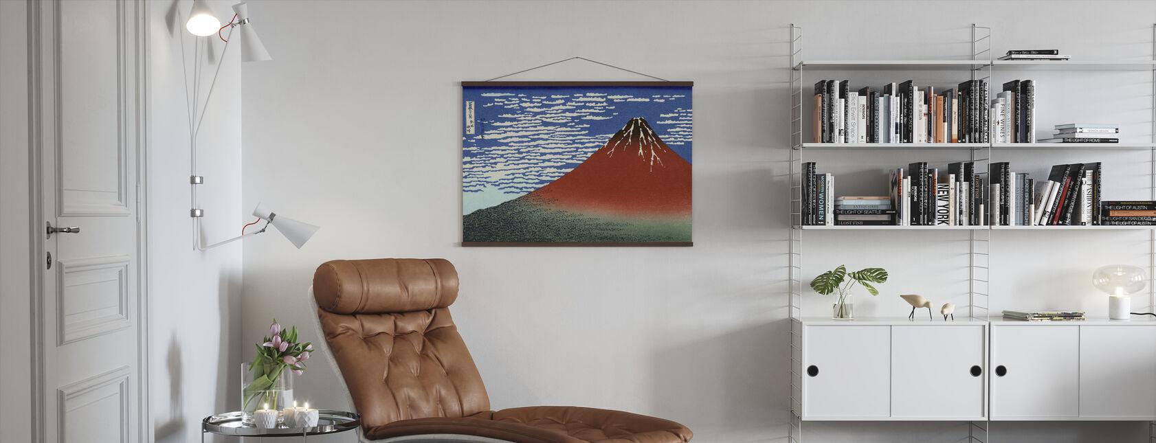 Red Fuji, Katsushika Hokusai - Poster - Woonkamer