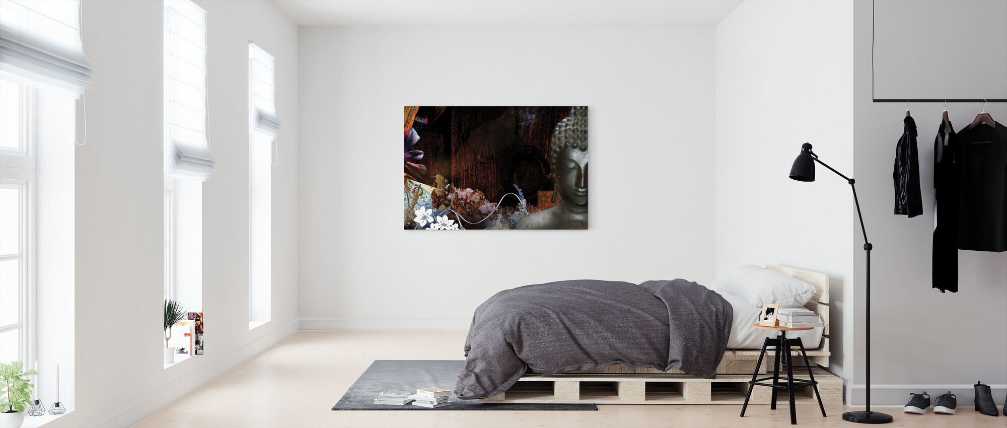 Buddha with Flowers - Canvas print - Bedroom