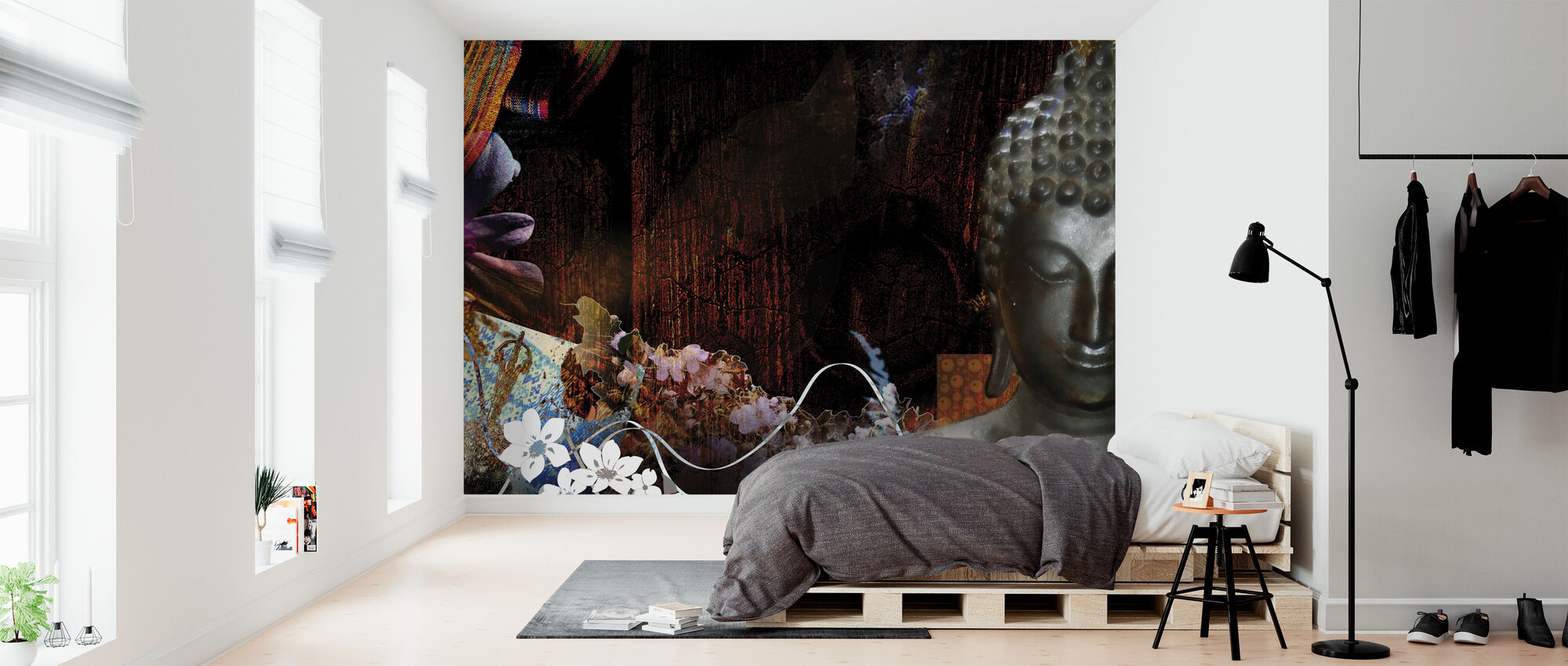Buddha kukkia - Tapetti - Makuuhuone