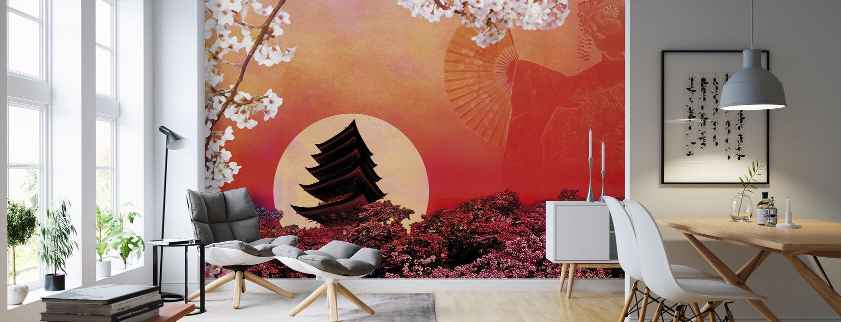 Stigande sol - Tapet - Vardagsrum