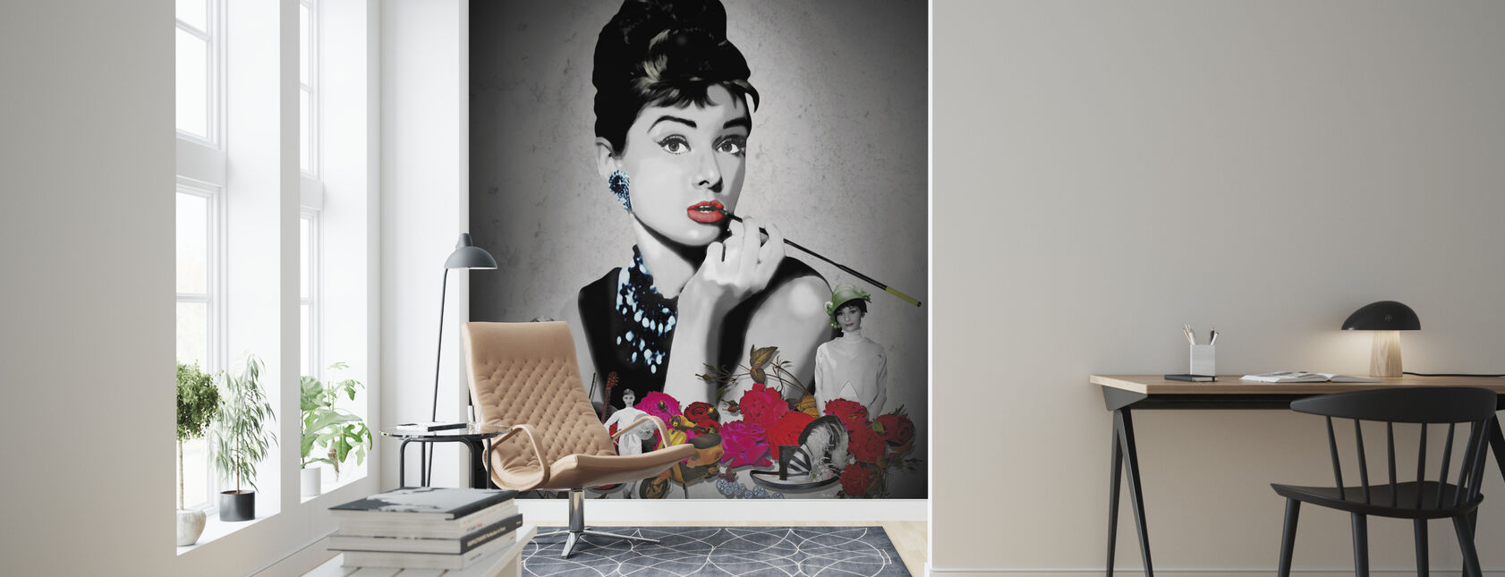 Hepburn - Black - Wallpaper - Living Room