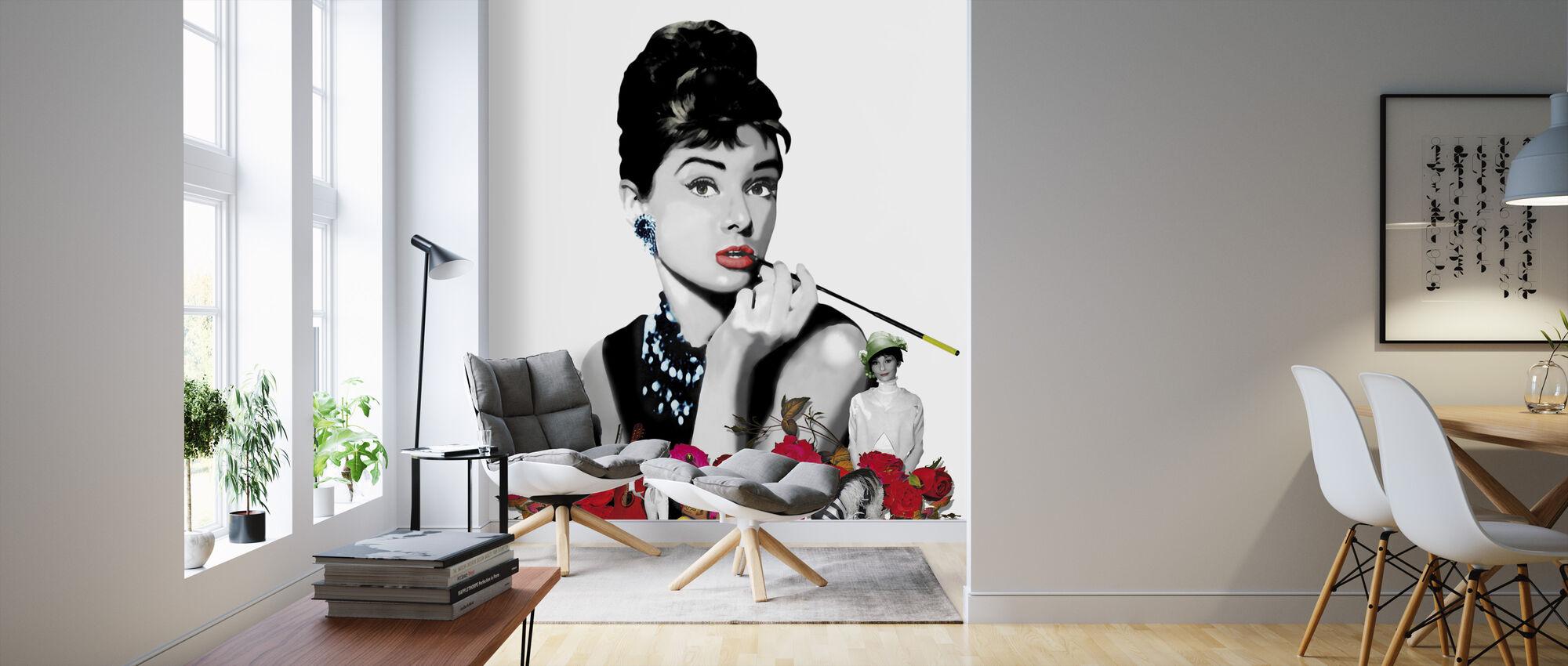 Hepburn - Weiß - Tapete - Wohnzimmer