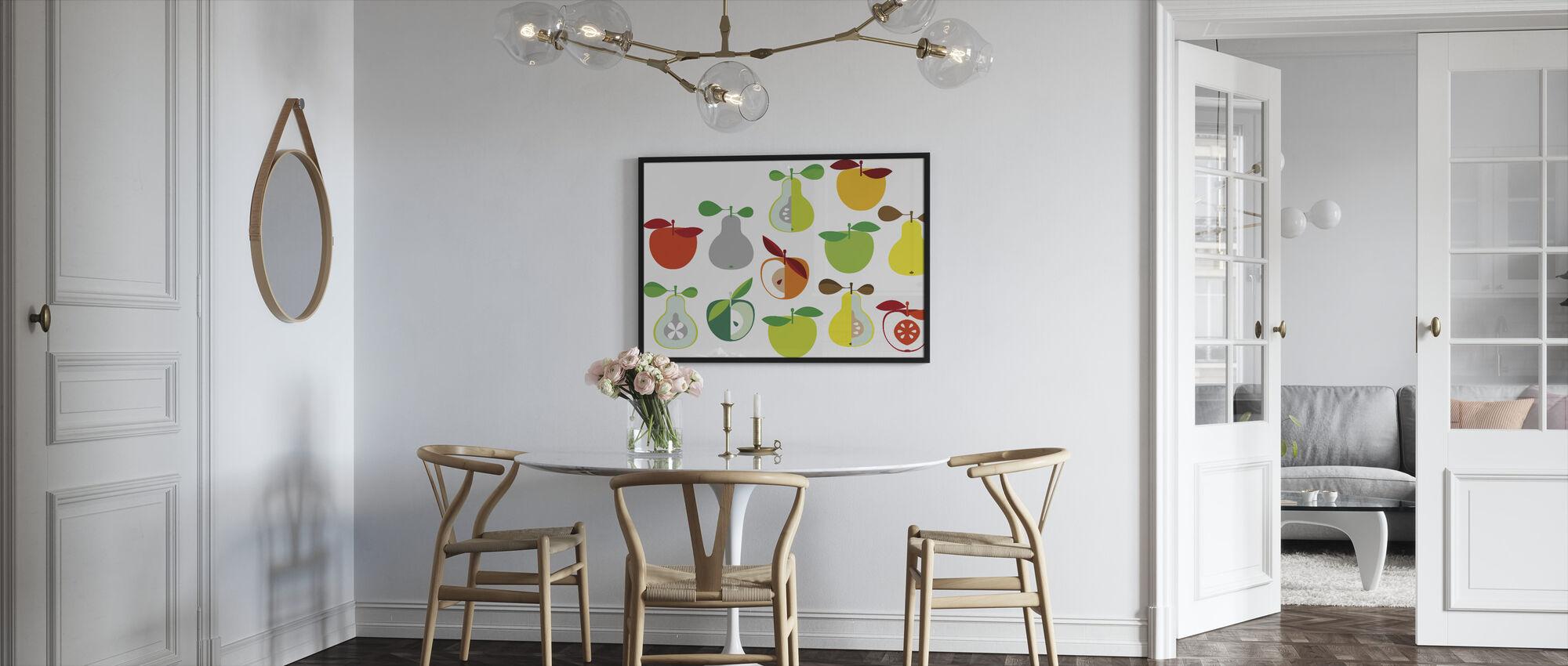 Kivik Omena ja Päärynä - Valkoinen - Kehystetty kuva - Keittiö