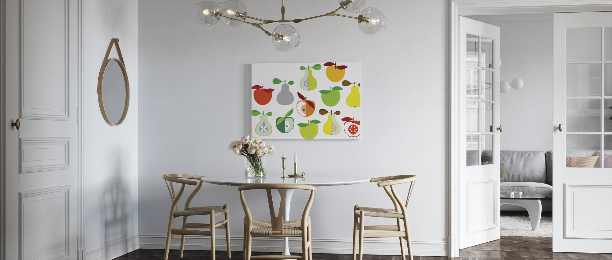 Kivik Apple and Pear - White - Canvas print - Kitchen