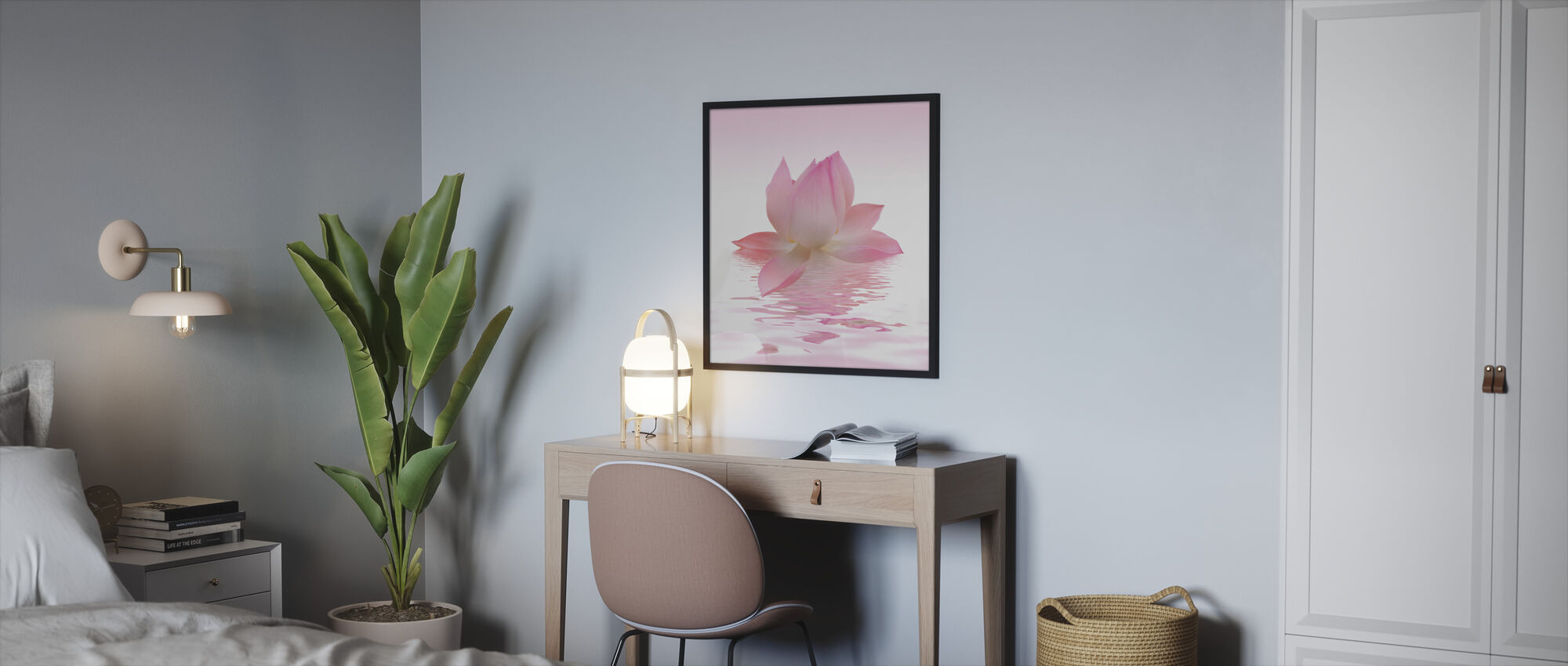 Rosa lotus - Innrammet bilde - Soverom