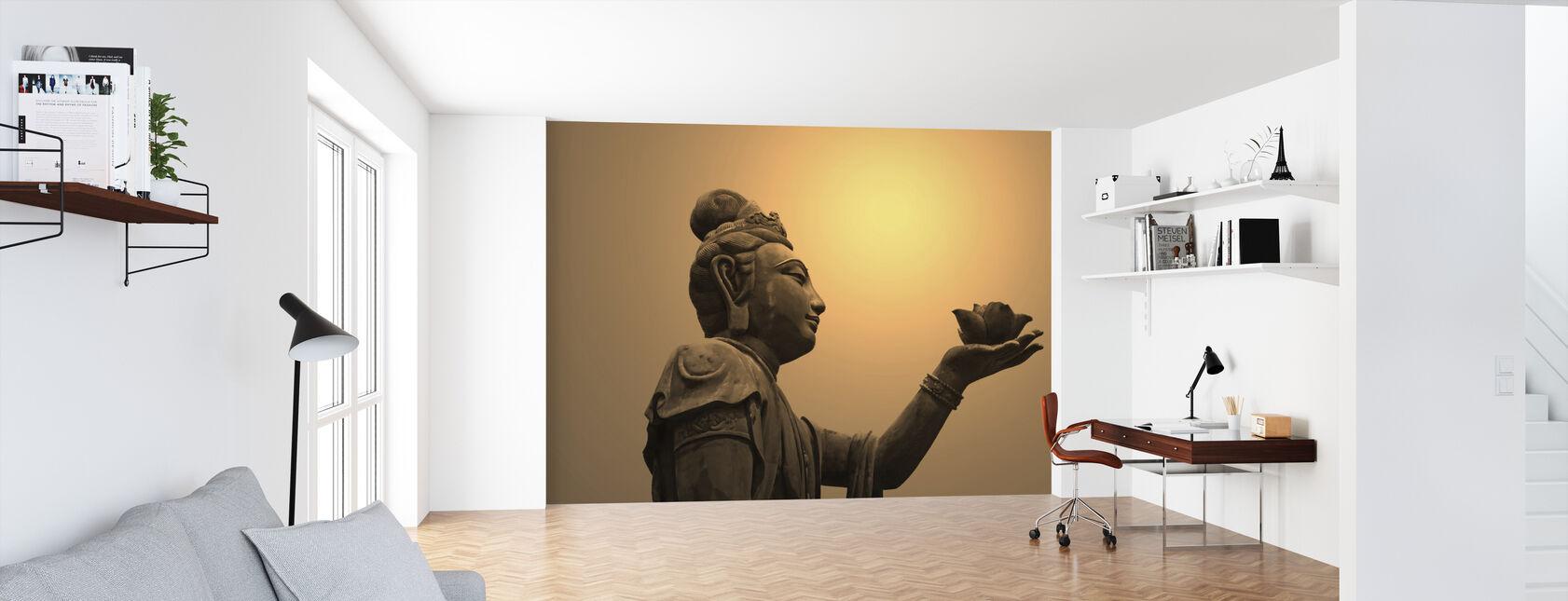 Estatua budista, Hong Kong - Papel pintado - Oficina