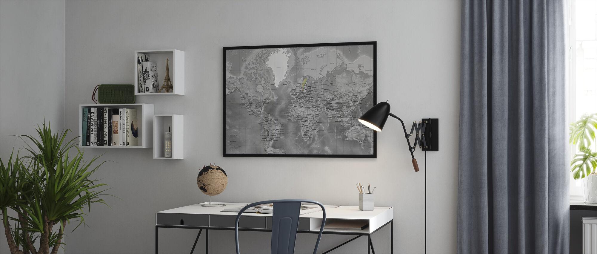 Maailmankartta - Yksityiskohtainen tiet - Colorsplash - Kehystetty kuva - Toimisto