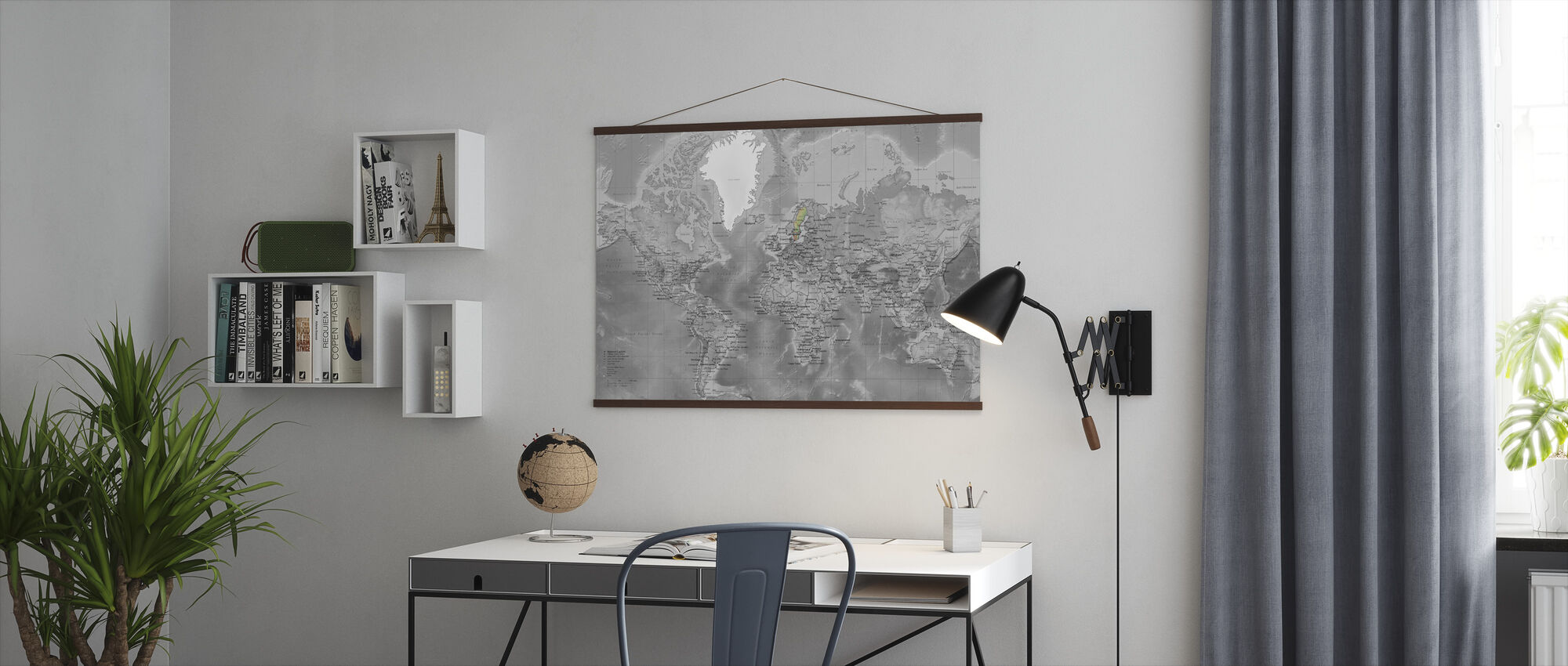 World Map - Detailed with Roads - Colorsplash - Poster - Office