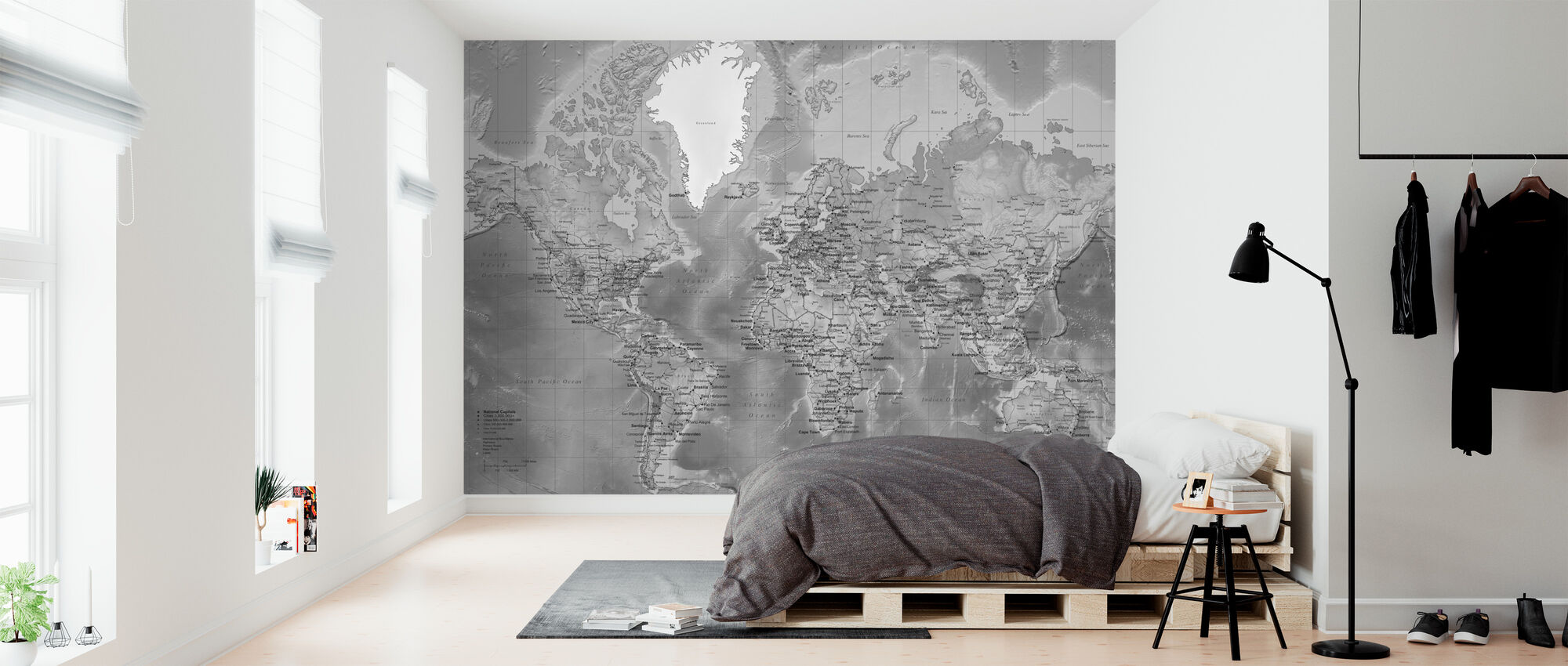 World Map - Detailed with Roads - Grey - Wallpaper - Bedroom
