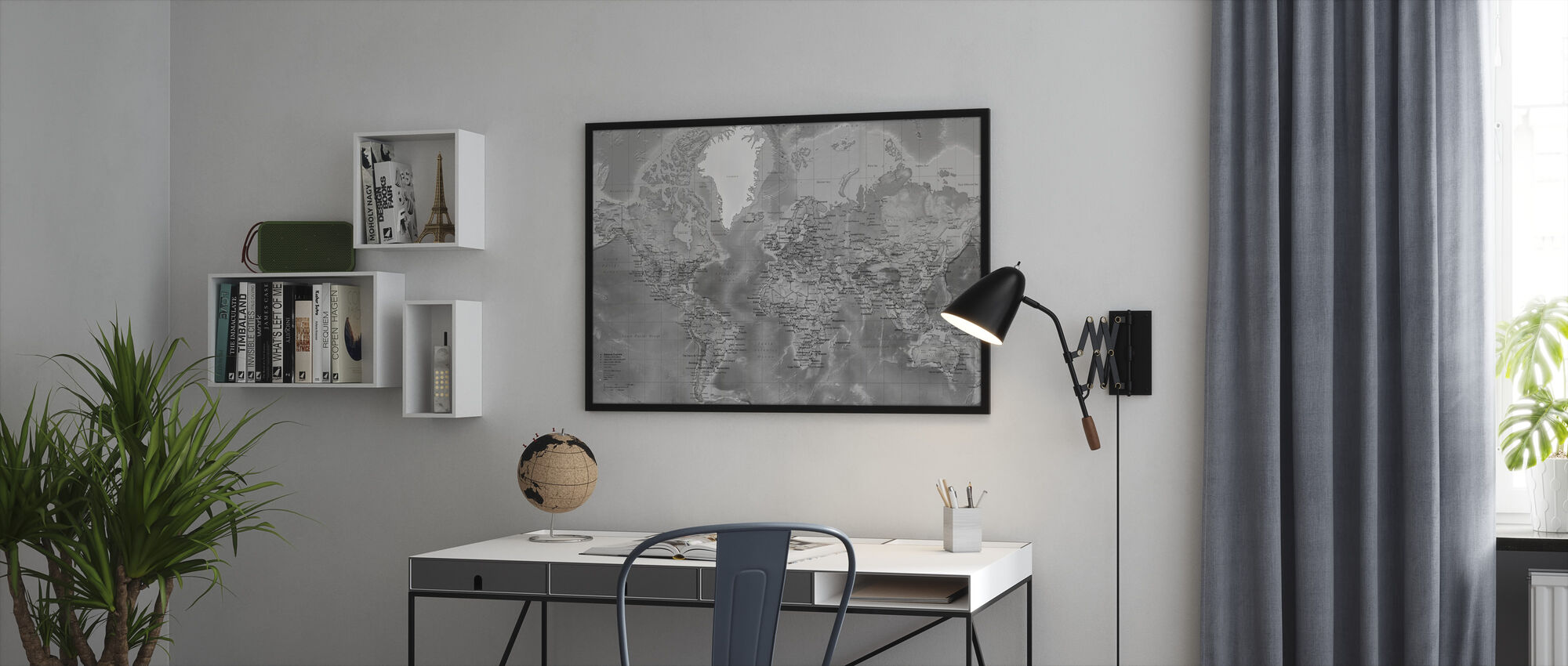 World Map - Detailed with Roads - Grey - Framed print - Office