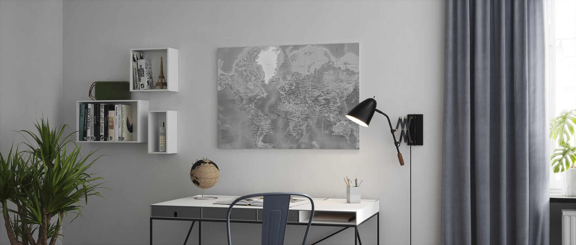 World Map - Detailed with Roads - Grey - Canvas print - Office