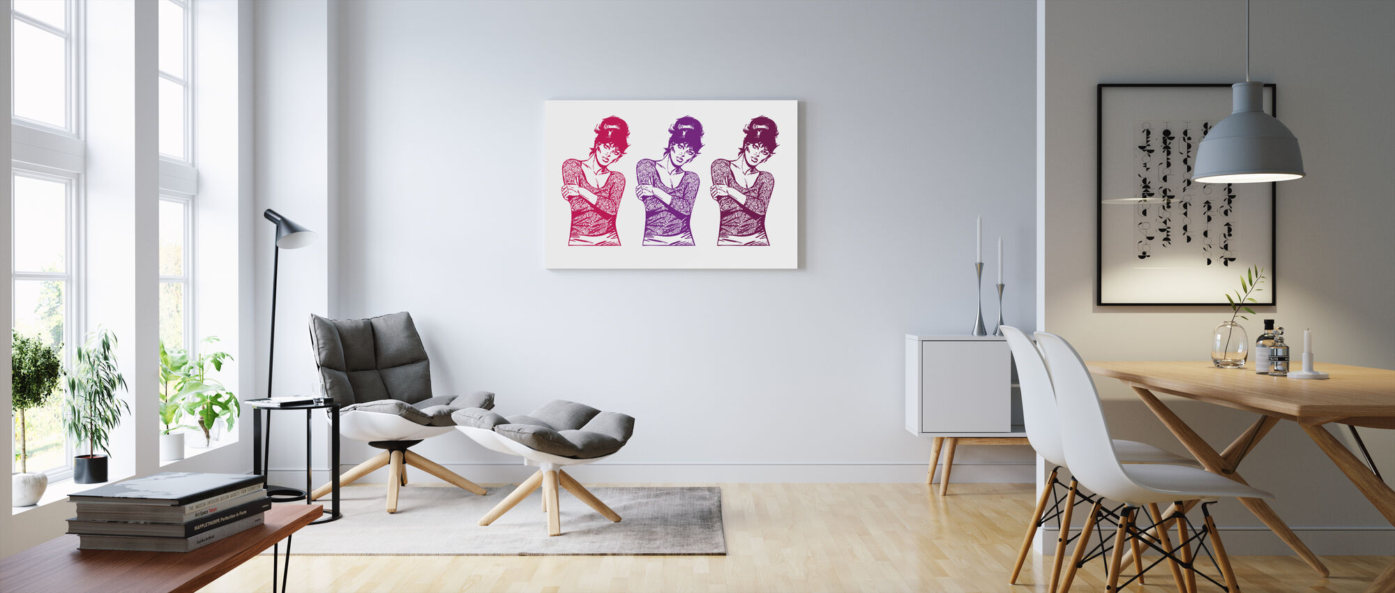 Modesty in Pink x 3 - Canvas print - Living Room