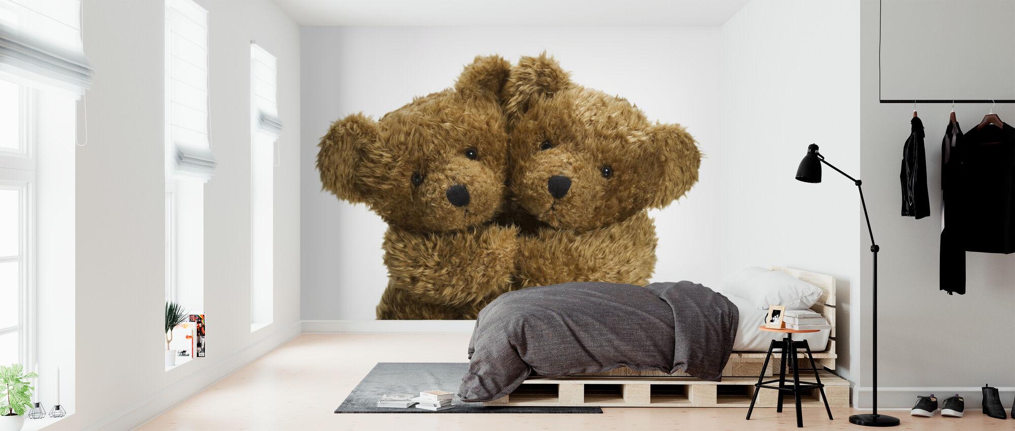 Cuddling Teddy Bears - Wallpaper - Bedroom