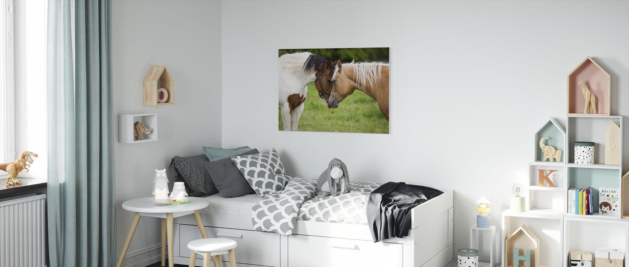 Cuddling Horses - Canvas print - Kids Room