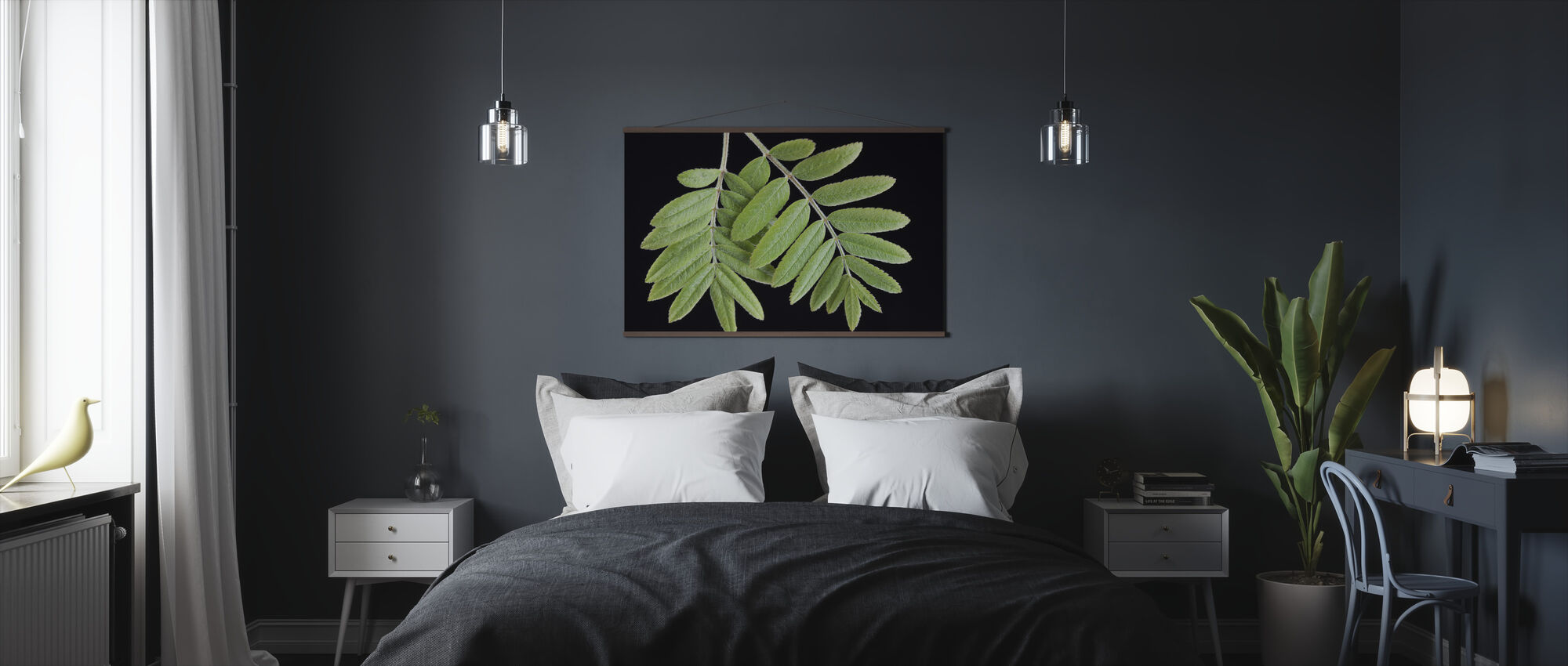 Green Leaves on Black Background - Poster - Bedroom