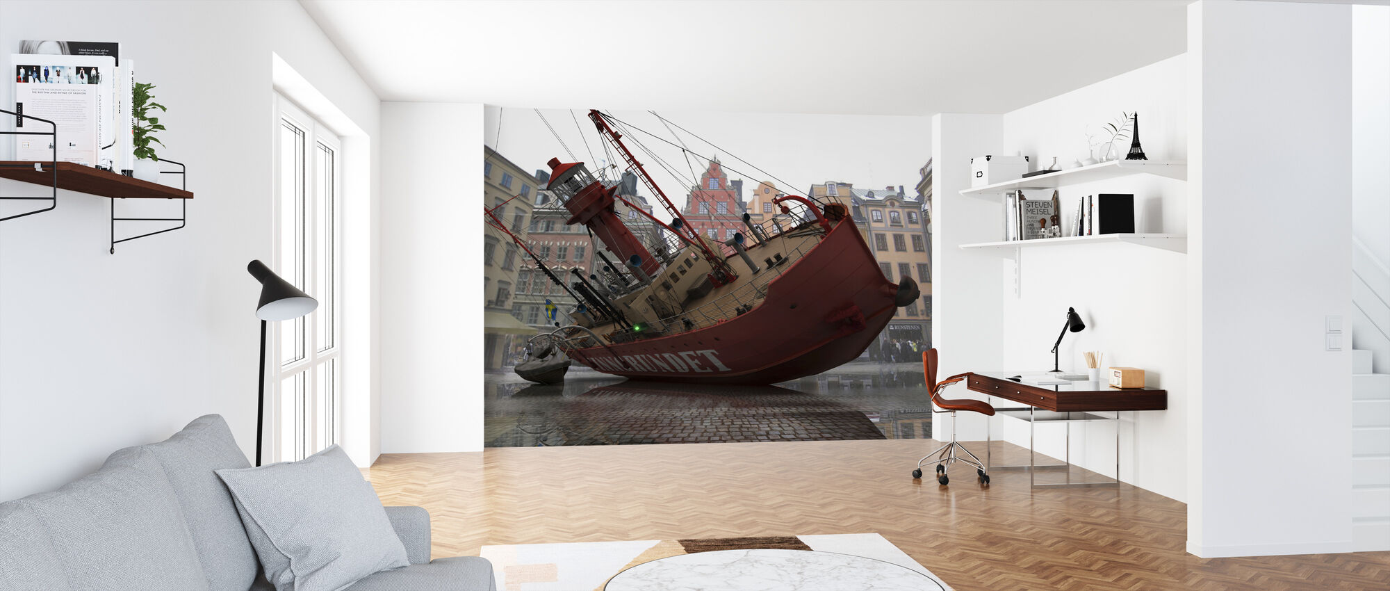 Boat in Old Town - Wallpaper - Office