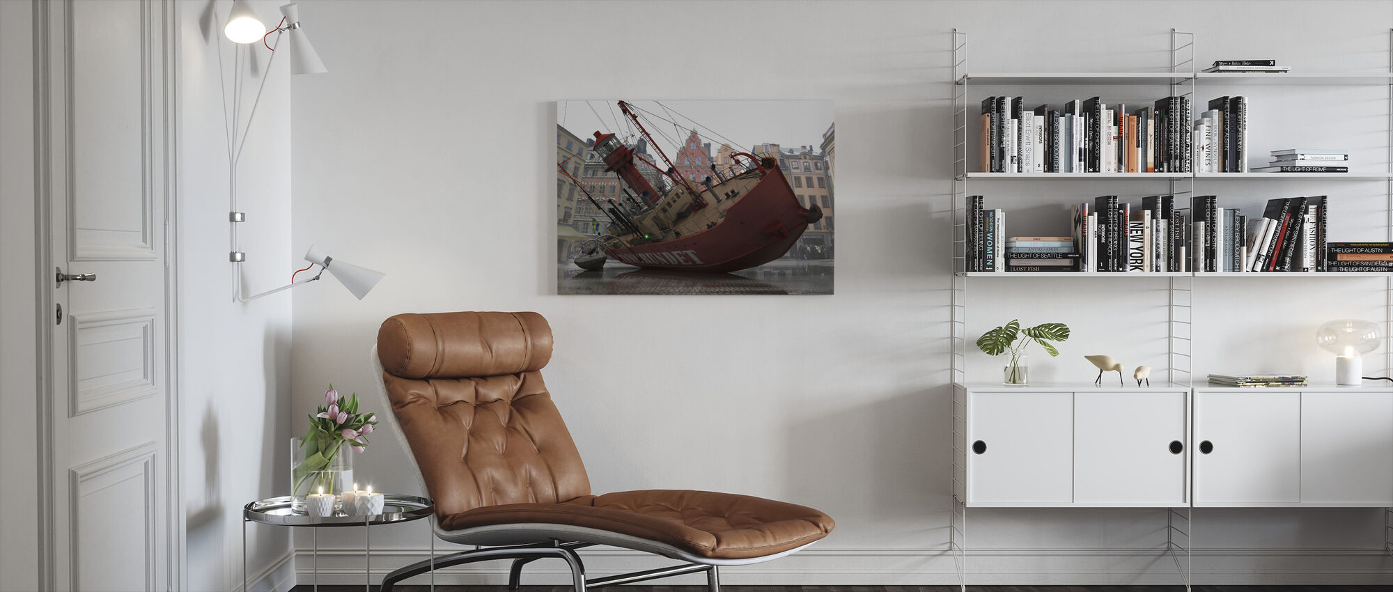 Boat in Old Town - Canvas print - Living Room