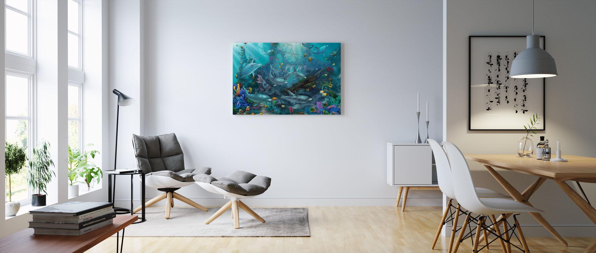 Delfiinien aarteita - Canvastaulu - Olohuone