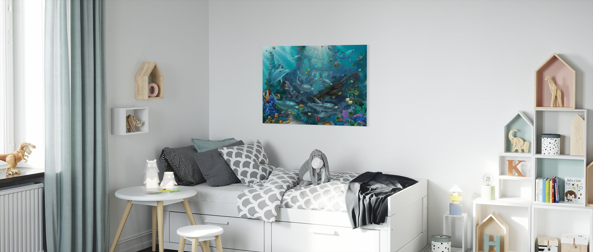 Dolphin Treasures - Canvas print - Kids Room