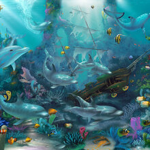 Fantasy wallpaper wall murals for Dolphin paradise wall mural