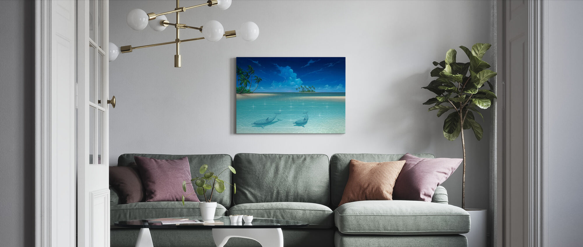 Dolphin Cove - Canvas print - Living Room