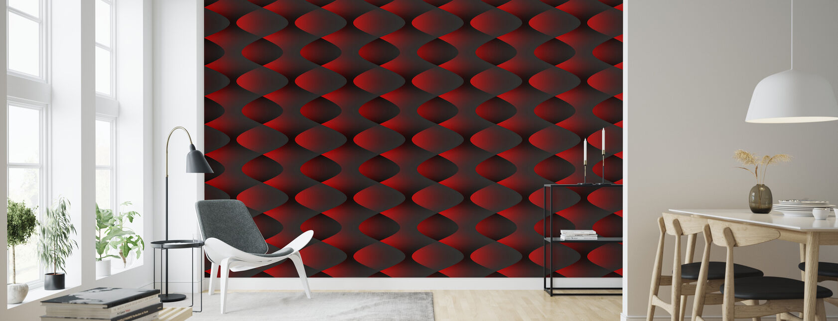 Red - Wallpaper - Living Room