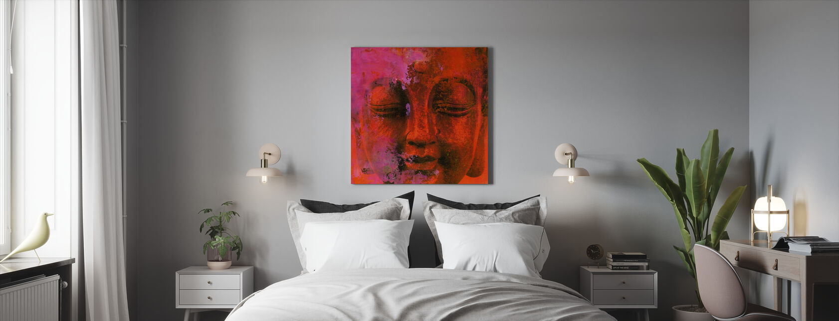 Red Buddha - Canvas print - Bedroom
