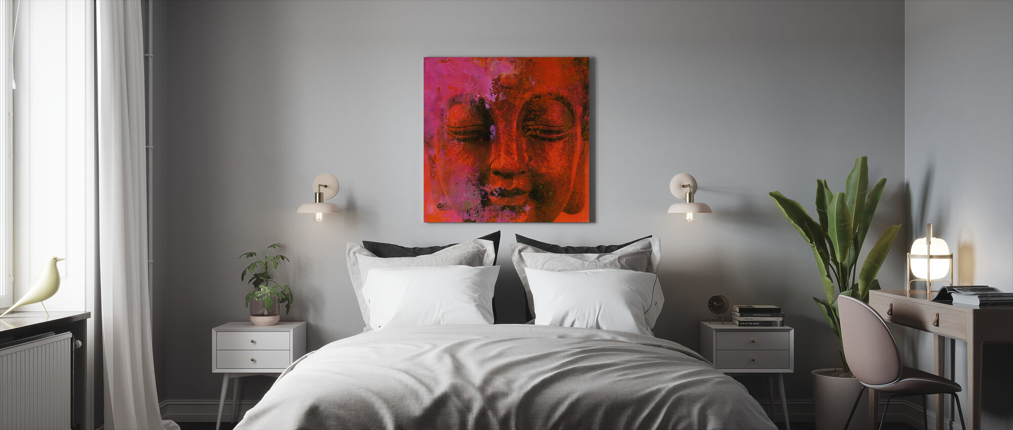 Red Buddha - Canvas print - Bedroom