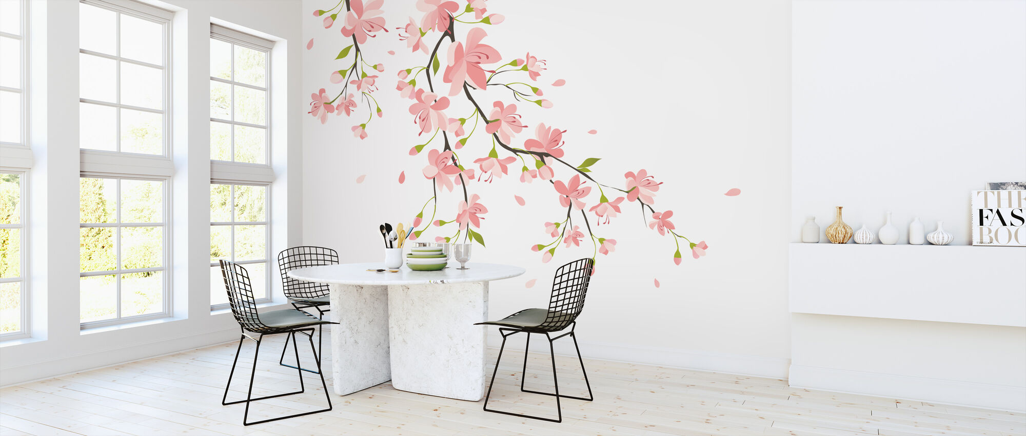 Branch with Pink Flowers - Wallpaper - Kitchen