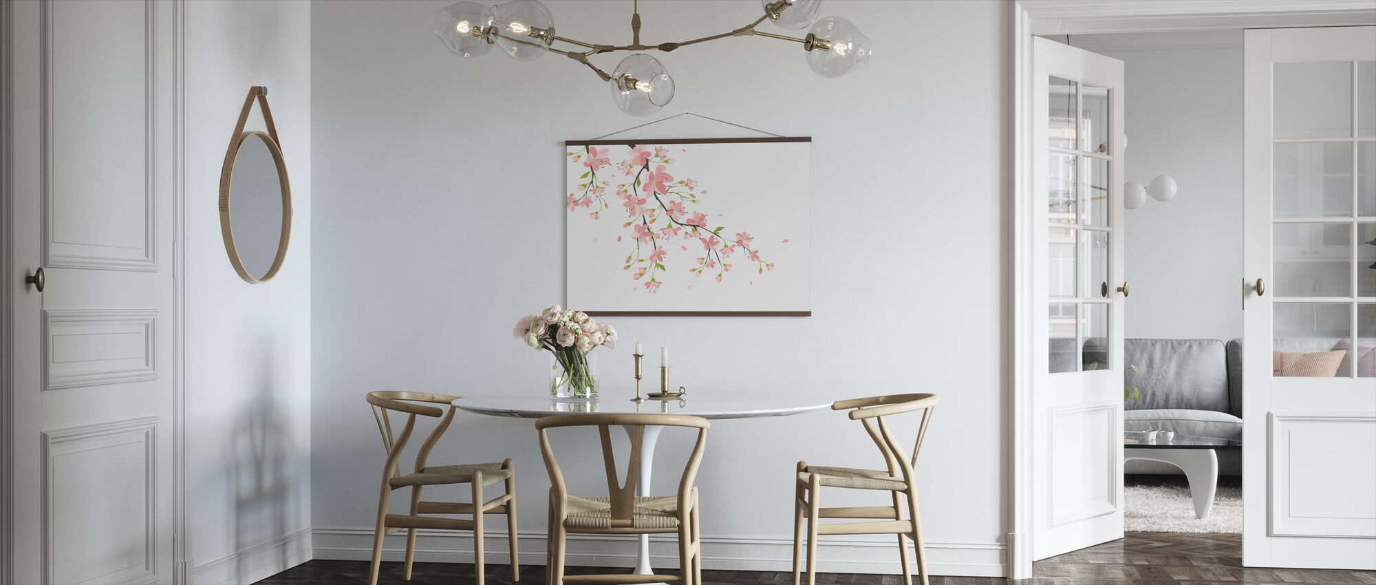 Branch with Pink Flowers - Poster - Kitchen