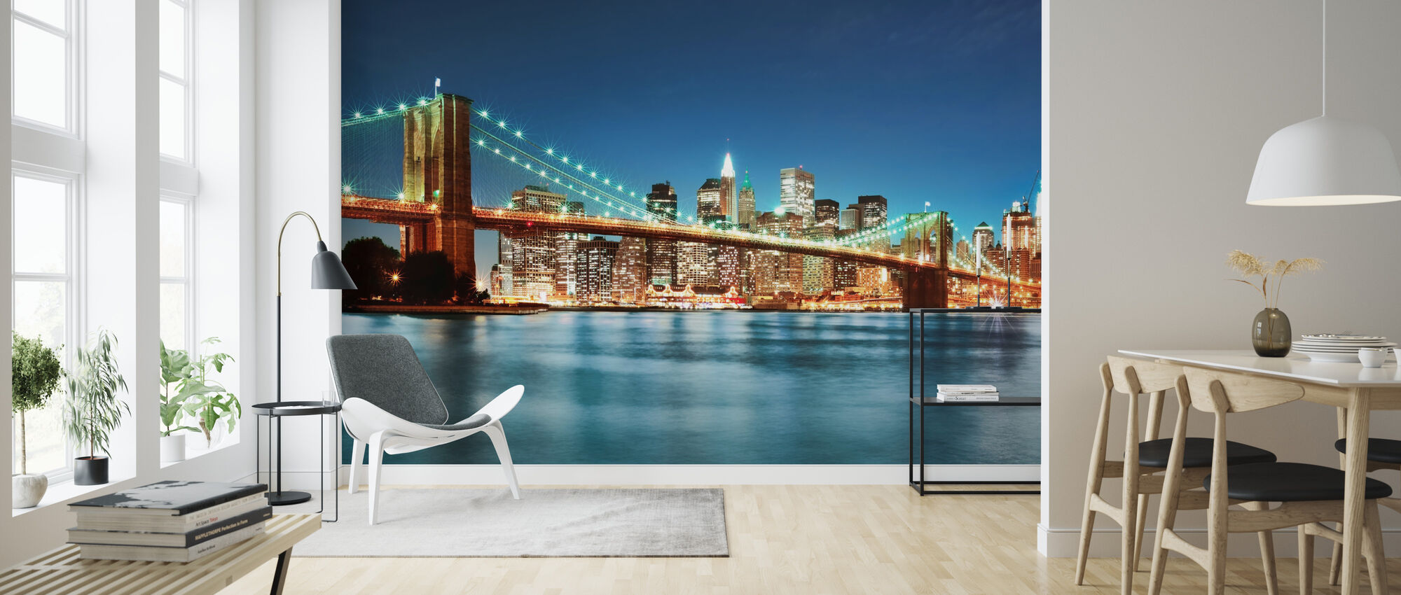 Bright Brooklyn Bridge - Wallpaper - Living Room