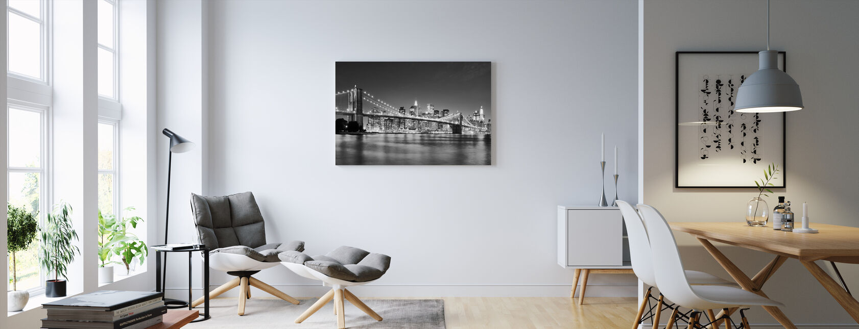 Bright Brooklyn Bridge - z/w - Canvas print - Woonkamer