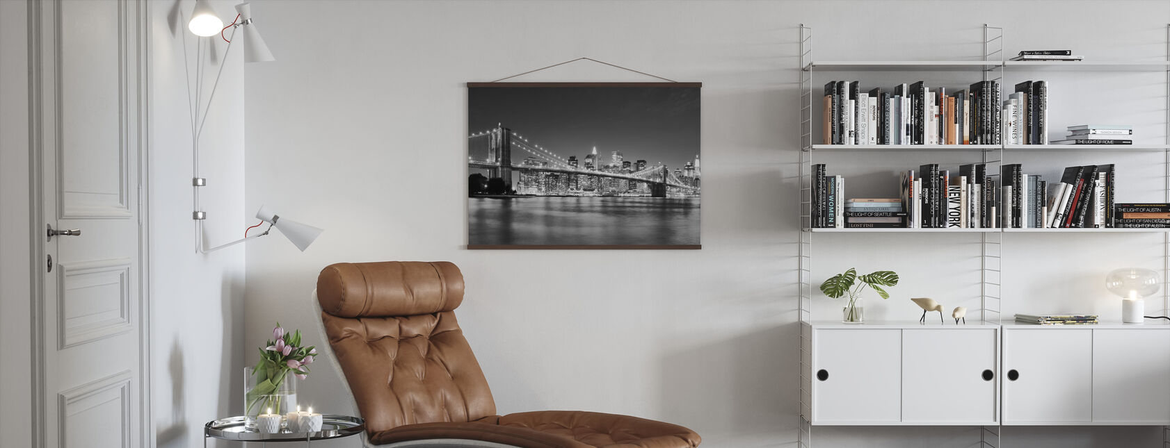 Bright Brooklyn Bridge - b/w - Poster - Vardagsrum