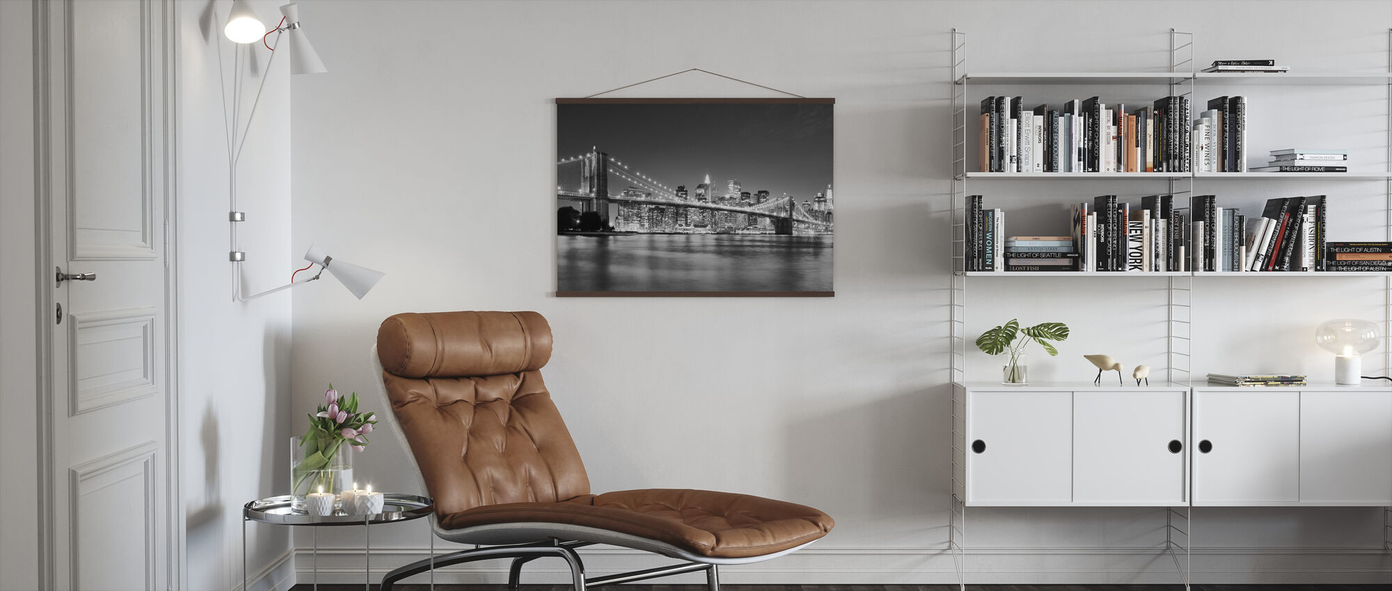 Bright Brooklyn Bridge - b/w - Poster - Living Room