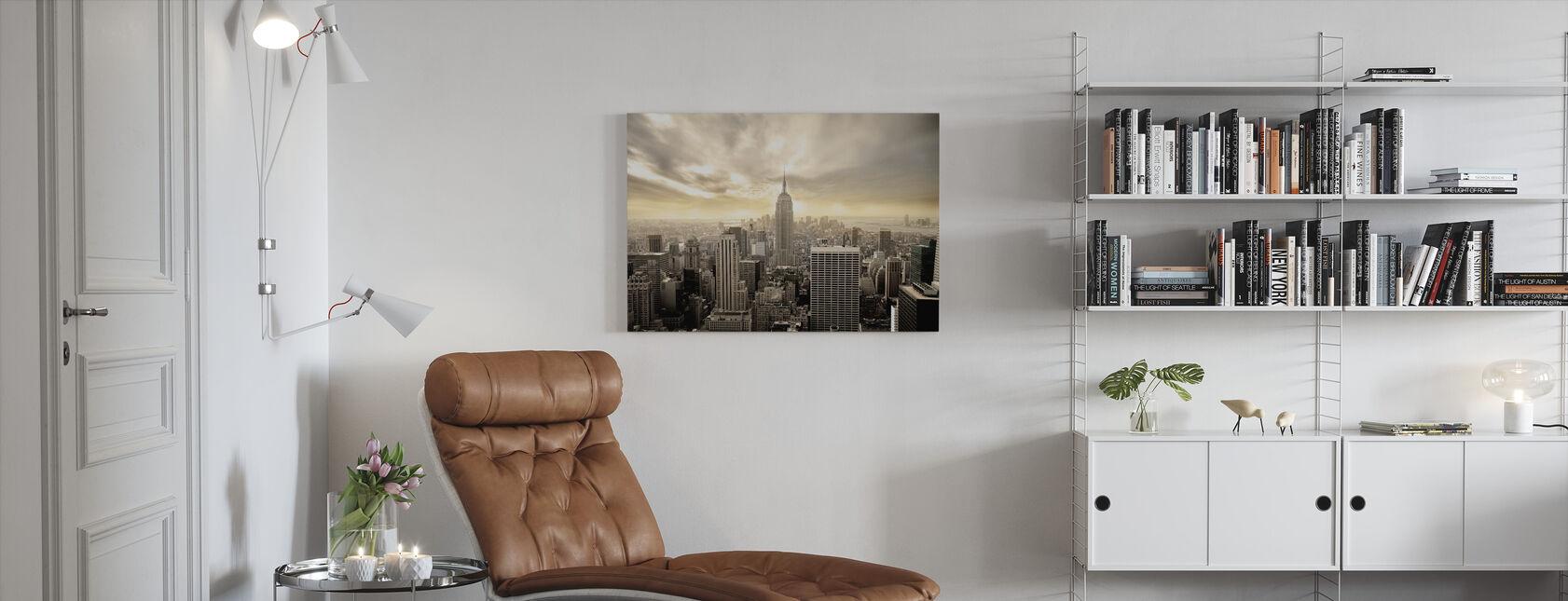 Fortryllende New York - Gul himmel - Billede på lærred - Stue