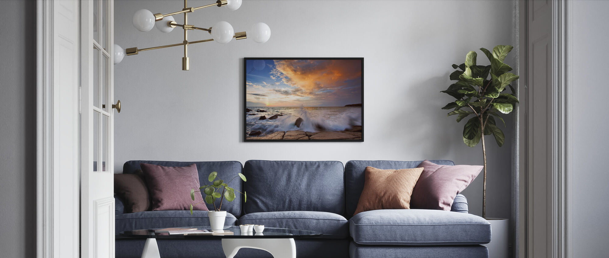 Wave in Sunset - Framed print - Living Room