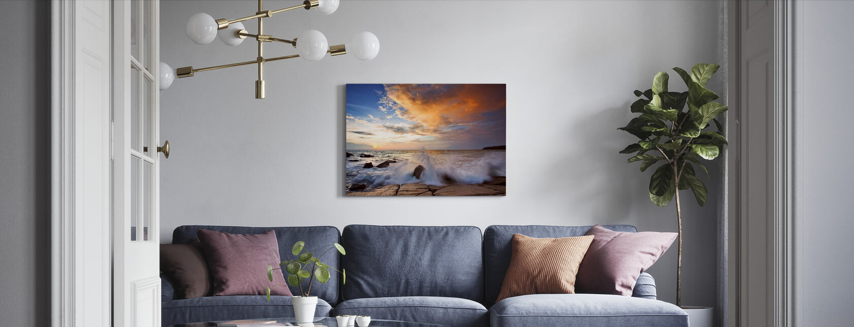 Wave in Sunset - Canvas print - Living Room