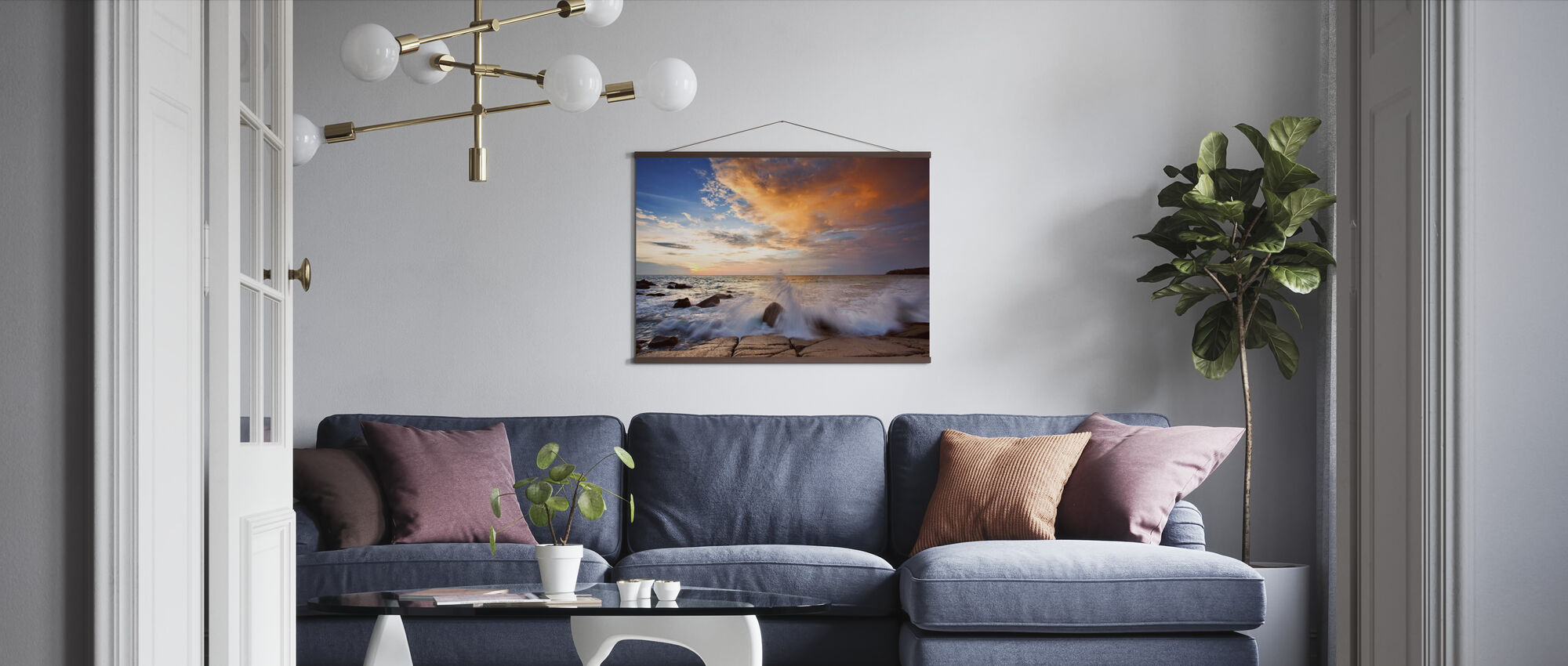 Wave in Sunset - Poster - Living Room