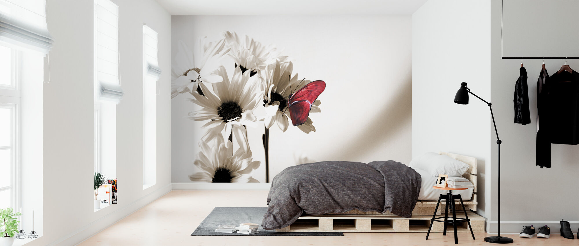Julia Butterfly - Deep Red - Wallpaper - Bedroom