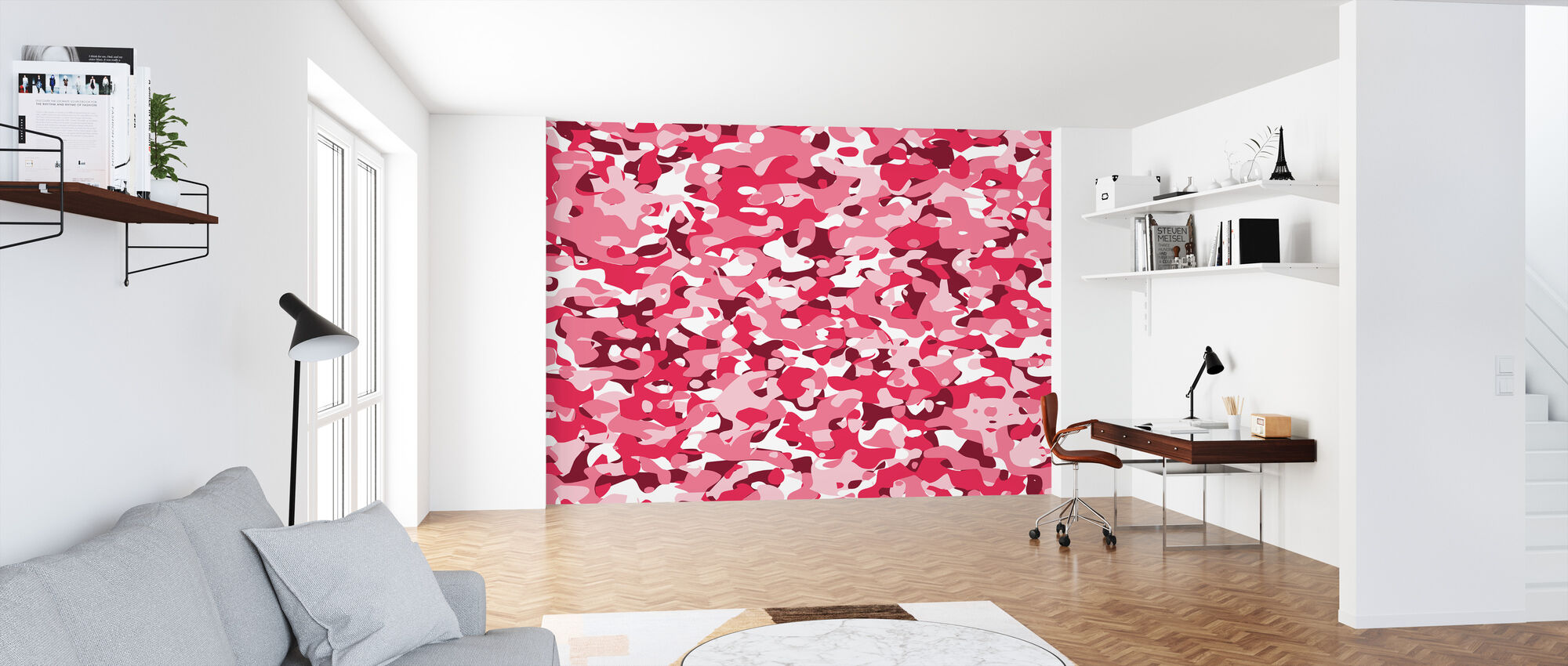 Camouflage - Pink - Wallpaper - Office