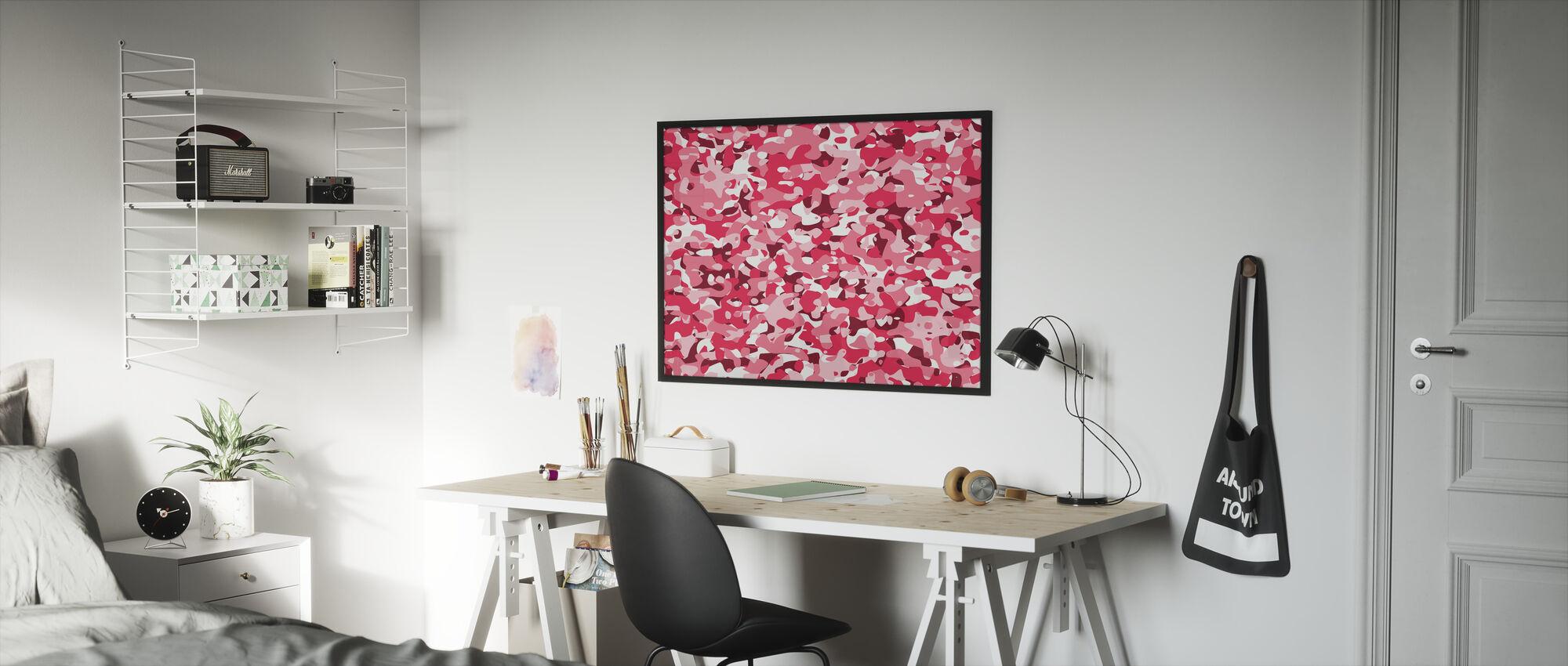 Kamouflage - Rosa - Inramad tavla - Barnrum