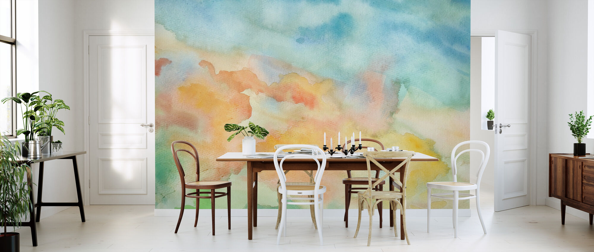 Abstract Watercolor Sky - Wallpaper - Kitchen