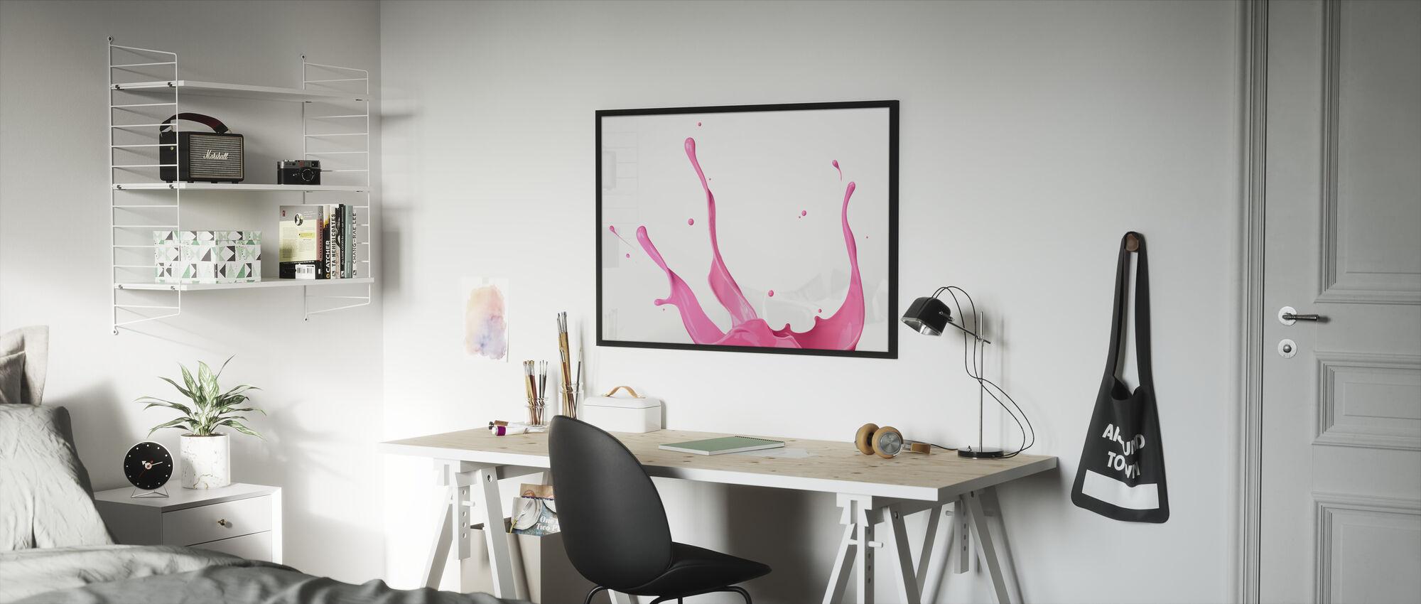 Pink Paint Splash - Framed print - Kids Room