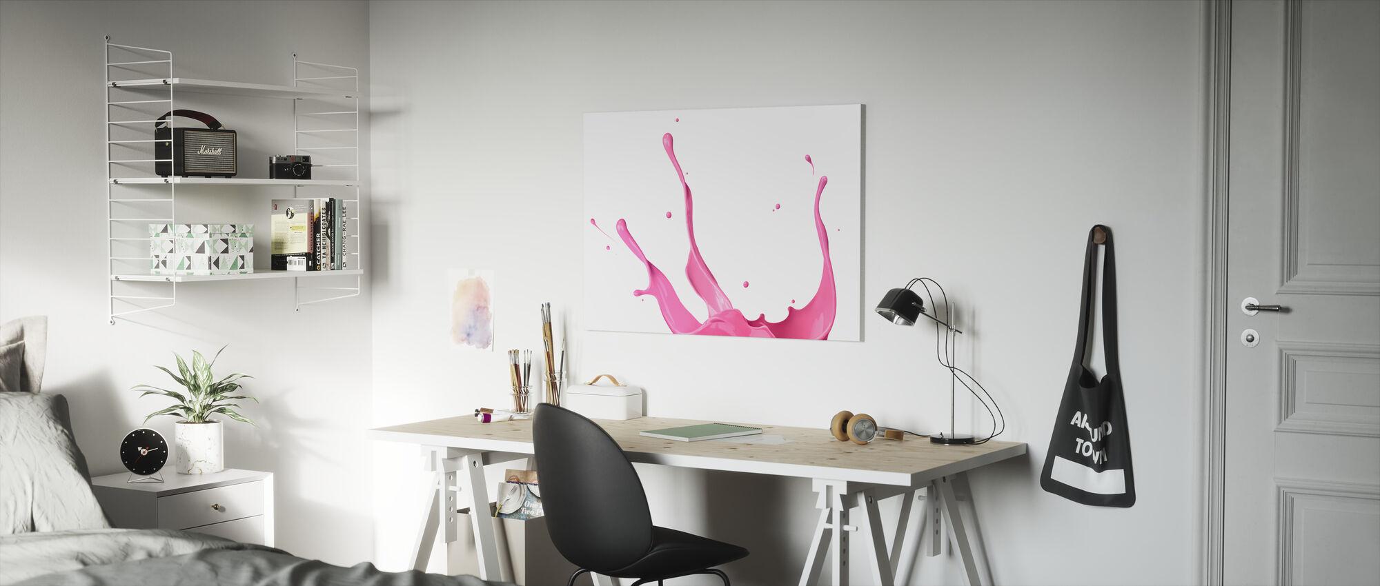 Vaaleanpunainen maali Splash - Canvastaulu - Lastenhuone