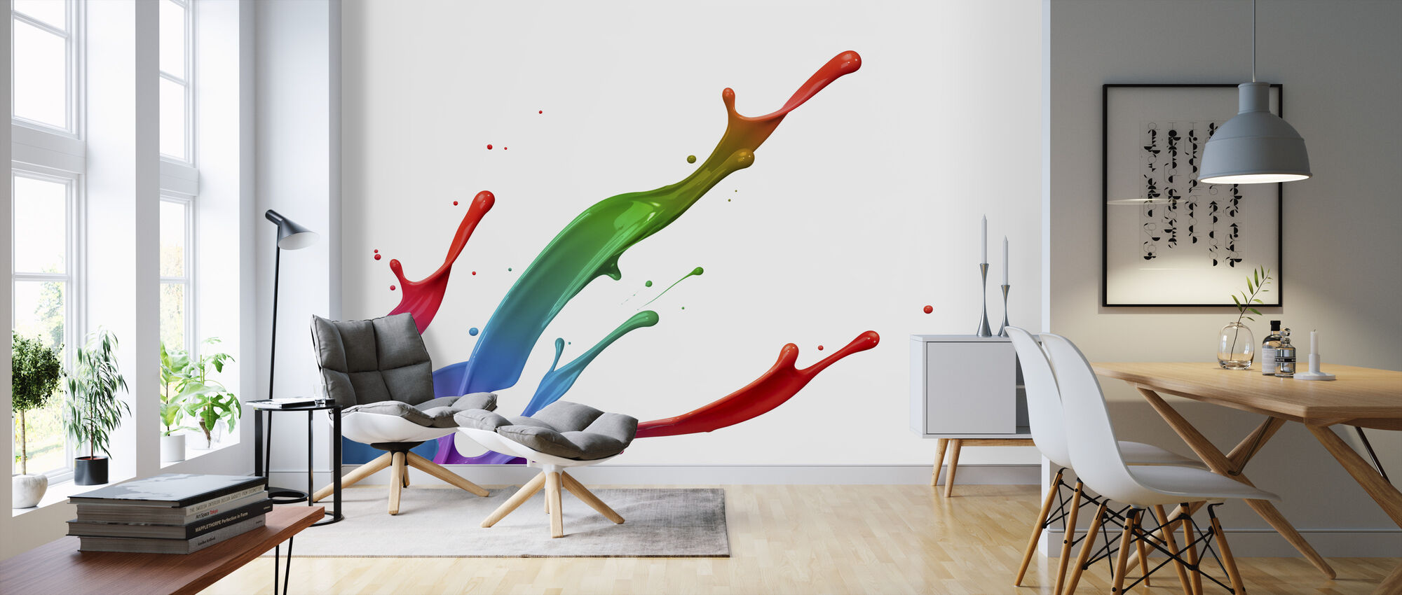 Värikäs maali Splash - Tapetti - Olohuone
