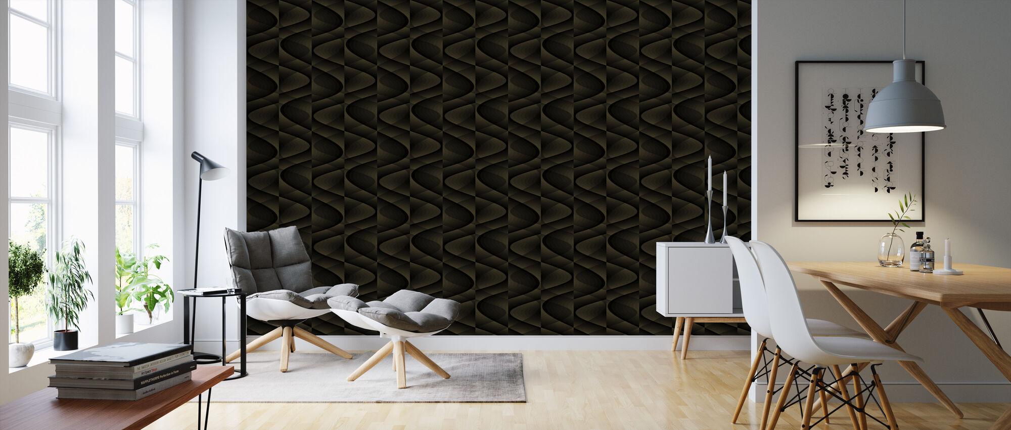 3D - Dark Beige Grey - Wallpaper - Living Room